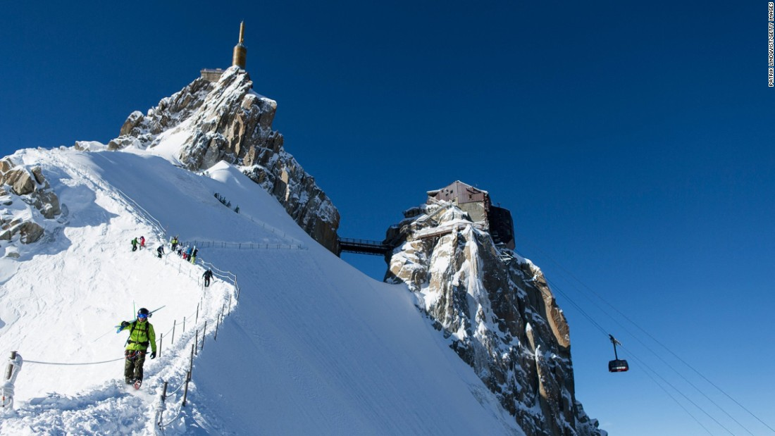 <strong>Aiguille du Midi, Chamonix, France --</strong> To reach the famous Vallee Blanche glacier, skiers walk through an ice tunnel and rope up to scramble down a knife-edge before descending 20 kilometers to Chamonix.