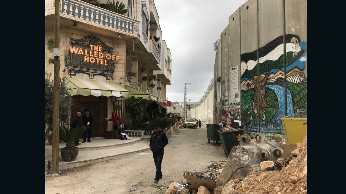 In March, Banksy revealed a large-scale installation in Bethlehem. Titled the Walled Off Hotel, the interactive artwork features nine guest rooms and a presidential suite.