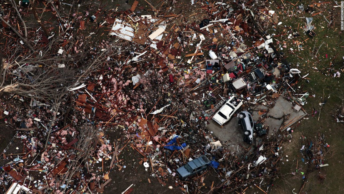 "Debris marks the site of a home that was hit by a tornado in Perryville, Missouri, on Tuesday, February 28. The tornado <a href=""http://www.cnn.com/2017/03/01/weather/severe-weather-midwest/"" target=""_blank"">had a 13-mile path</a> and destroyed some houses in the city, leaving about 60 families who have ""lost about everything,"" Mayor Ken Baer said."