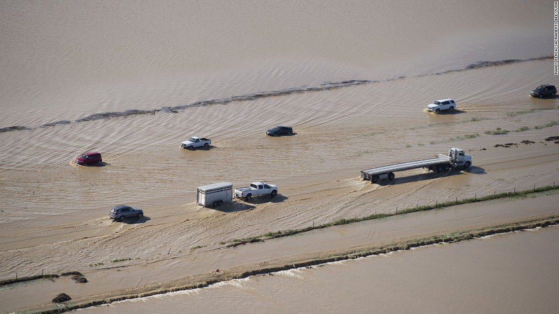 "Floodwater crosses over Interstate 5 in Williams, California, on Saturday, February 18. <a href=""http://www.cnn.com/2017/02/18/weather/gallery/california-storms/index.html"" target=""_blank"">Severe storms</a> caused flooding, damage and blackouts across the state."