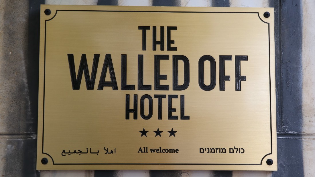 The new hotel is called The Walled Off Hotel and is filled with artwork by Banksy and other artists.