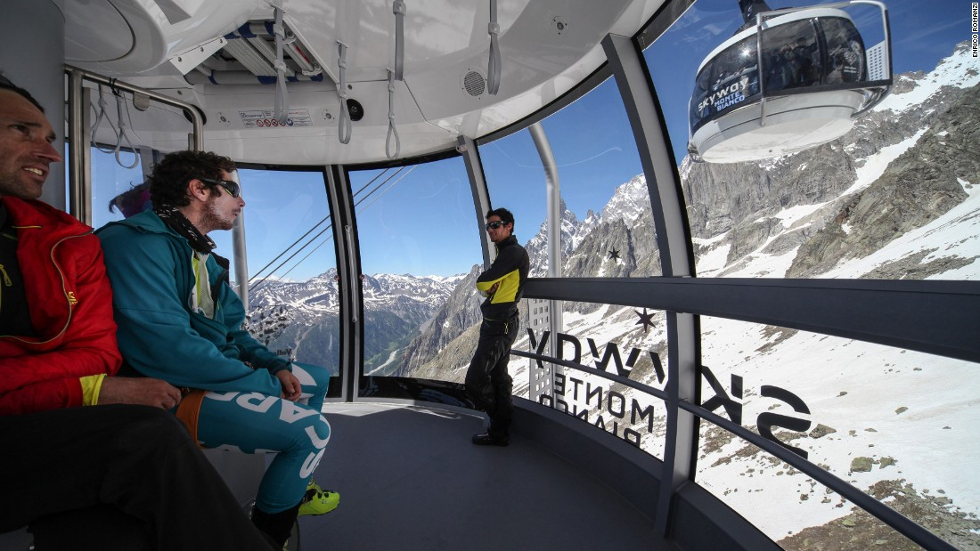 <strong>Skyway Monte Bianco, Courmayeur, Italy --</strong>This $116 million lift, opened in June 2015, soars through imposing scenery on the south side of Mont Blanc.