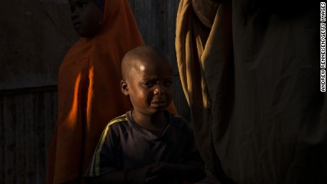 A four-year-old boy in the town of Garowe cries over the death of his mother.