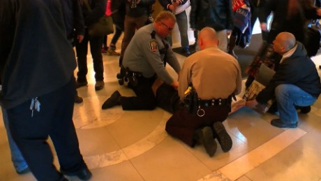 The Minnesota State Patrol five people for allegedly setting off firecrackers inside the capitol building during Trump protest in St. Paul, Minnesota.