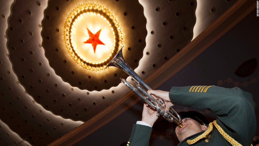 A member of a Chinese military band rehearses before the opening session of the annual National People's Congress at Beijing's Great Hall of the People, Sunday, March 5. China's top leadership as well as thousands of delegates from around the country are gathered at the Chinese capital for the annual legislature meetings.