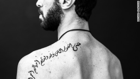 """Abed Al Razzak's tattoo """"By which right did you enslave people, when they were born free by their mothers?"""""""