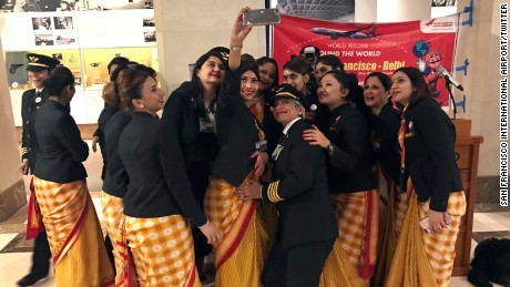 An all female Air India crew took a selfie in the San Francisco airport during their record setting round-the-world trip from India to San Francisco. This is the first time an all women crew flew around the world.