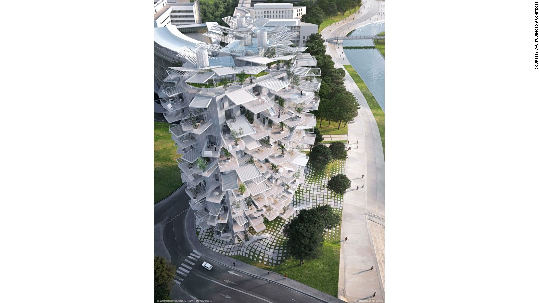 """Building Community: New Apartment Architecture"" also highlights a few ambitious projects that haven't yet been realized. <br /><br />Sou Fujimoto worked with Manal Rachdi and Nicolas Laisne -- two young French architects -- on the designs for this 17-story tower. It will be built in Montpellier, France."