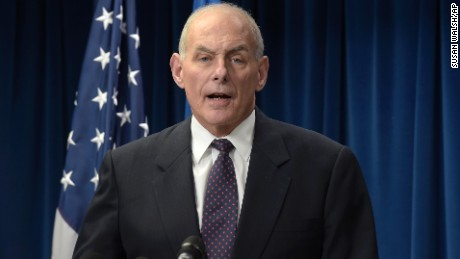 Homeland Security Secretary John Kelly makes a statement on issues related to visas and travel, Monday, March 6, 2017, at the U.S. Customs and Border Protection office in Washington. (AP Photo/Susan Walsh)