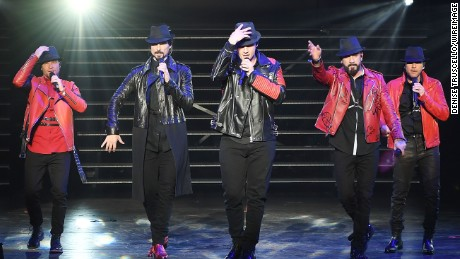 "LAS VEGAS, NV - MARCH 01:  (L-R) Brian Littrell, Kevin Richardson, Nick Carter, AJ McLean and Howie Dorough of the Backstreet Boys perform during the launch of the group's residency ""Larger Than Life"" at The Axis at Planet Hollywood Resort & Casino on March 1, 2017 in Las Vegas, Nevada."