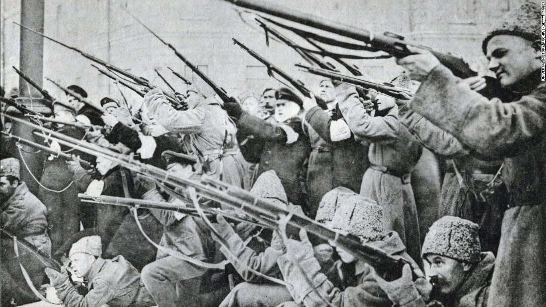 During the February Revolution, authorities and protestors clashed on the streets of Petrograd.