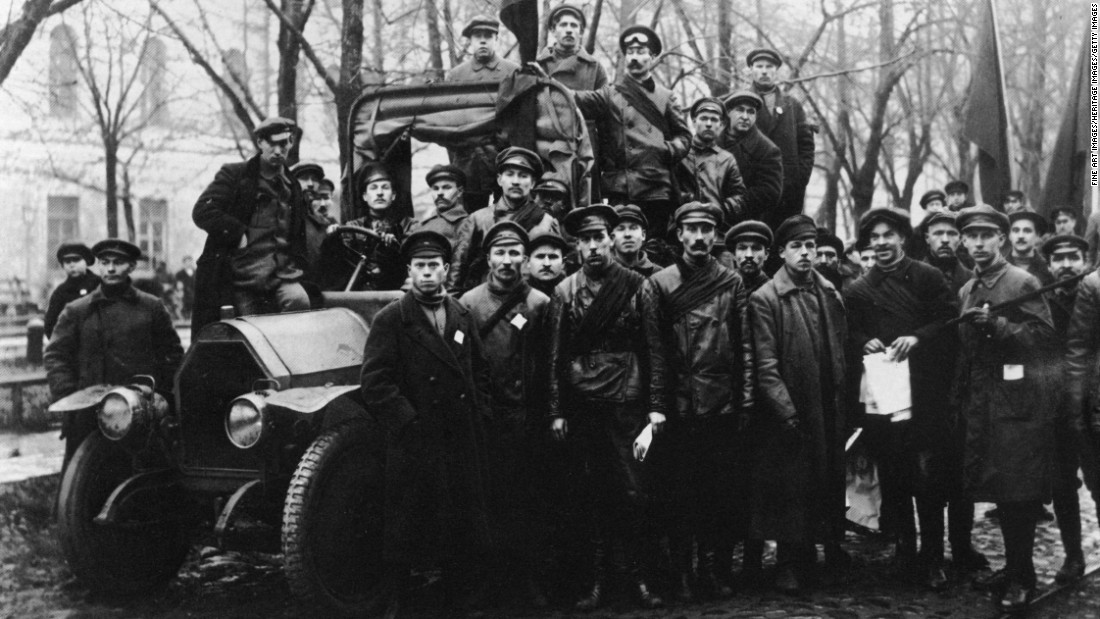 A Group of Red Army soldiers in Petrograd in 1917.