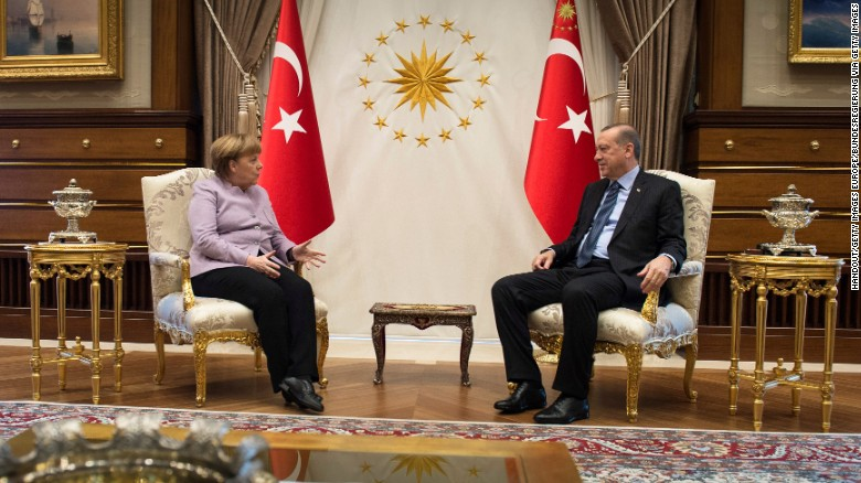 Angela Merkel (L) and Recep Tayyip Erdogan meet in Erdogan's office on February 2.