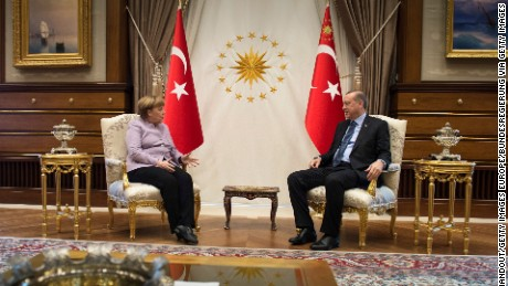 ANKARA, TURKEY - FEBRUARY 02: In this handout photo provided by the German Government Press Office (BPA), Turkish President Recep Tayyip Erdogan and Federal Chancellor of Germany Angela Merkel during a meeting in Erdogan's office on February 2, 2017 in Ankara, Turkey.  (Photo byGuido Bergmann/Bundesregierung via Getty Images)