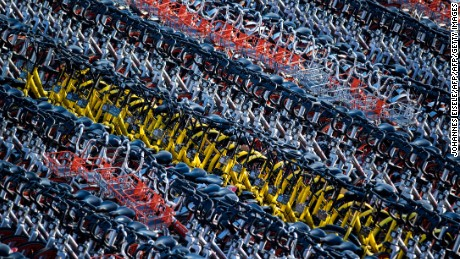 Shanghai has impounded thousands of brightly coloured bikes placed on city streets by cycle-sharing companies.