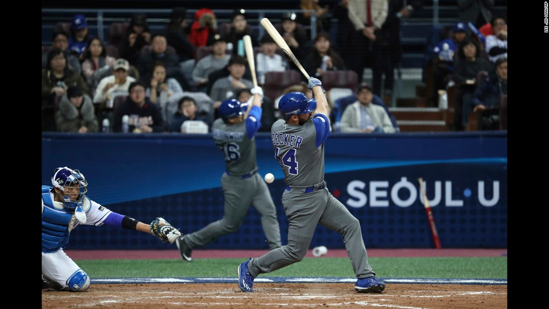 Israel's Cody Decker fouls off a pitch during the World Baseball Classic, which started Monday, March 6, in Seoul, South Korea. Israel upset the host nation 2-1 in extra innings.