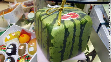 TOKYO - JUNE 17:  A square watermelon that is for sale sits in a department store June17, 2002 in Tokyo. Shipments of the season's first square watermelons began June 17, 2002 and sell for 80 U.S. dollars.  (Photo by Koichi Kamoshida/Getty Images)