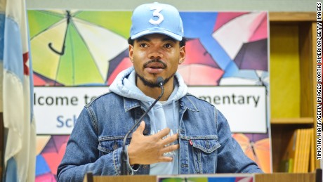 CHICAGO, IL - MARCH 06:  Chance The Rapper holds a press conference and donates $1 Million Dollars to the Chicago Public School Foundation at Westcott Elementary School on March 6, 2017 in Chicago, Illinois.  (Photo by Timothy Hiatt/Getty Images)