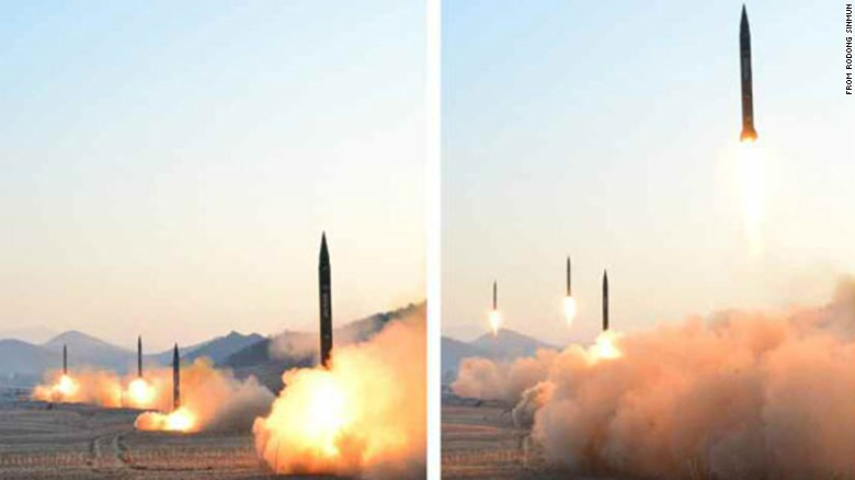 Photos released by North Korean state media claim to show Monday's ballistic missile launch in Tongchang-Ri.