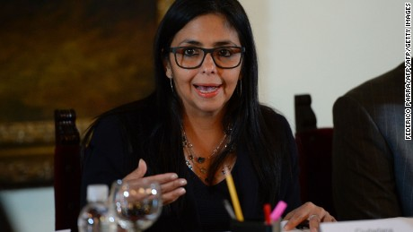 "Venezuelan Foreign Minister Delcy Rodriguez holds a meeting with members of ""Commission for Truth and Justice,""  in Caracas on December 2, 2016. Venezuela on Friday angrily rejected its suspension from the South American economic bloc Mercosur, saying it did not recognize the action taken by the group's four other member states. / AFP / Federico PARRA        (Photo credit should read FEDERICO PARRA/AFP/Getty Images)"