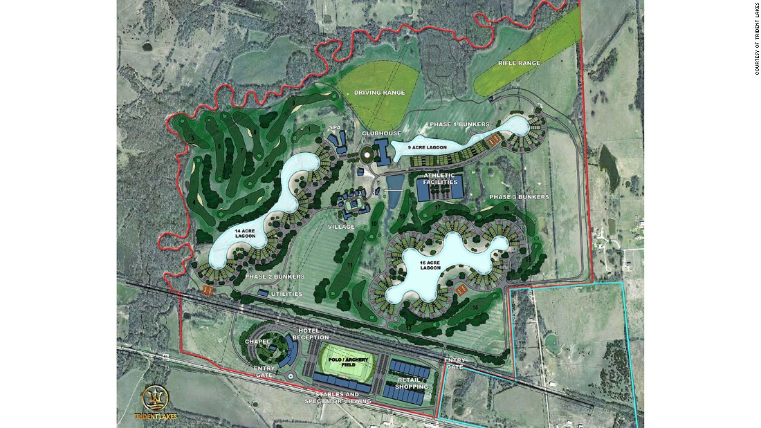 Currently being built in Fannin County, Texas, by Vintuary Holdings, Trident Lakes is part country club and part survival community. It will offer condos that are 90% earth sheltered with above ground amenities, such as a golf course, equestrian center and lagoons. The subterranean offerings include communal greenhouses and a DNA vault.