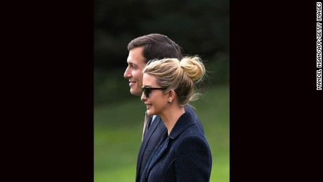 Senior Advisor to the President, Jared Kushner (L), walks with his wife Ivanka Trump to board Marine One at the White House in Washington, DC, on March 3, 2017. The two are travelling with US President Donald Trump to Florida.