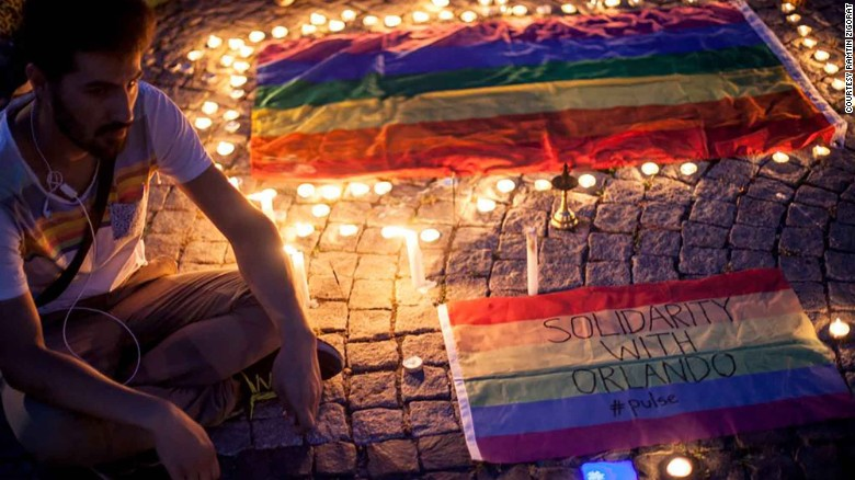 Zigorat at a candlelight vigil in solidarity with Orlando shooting victims.