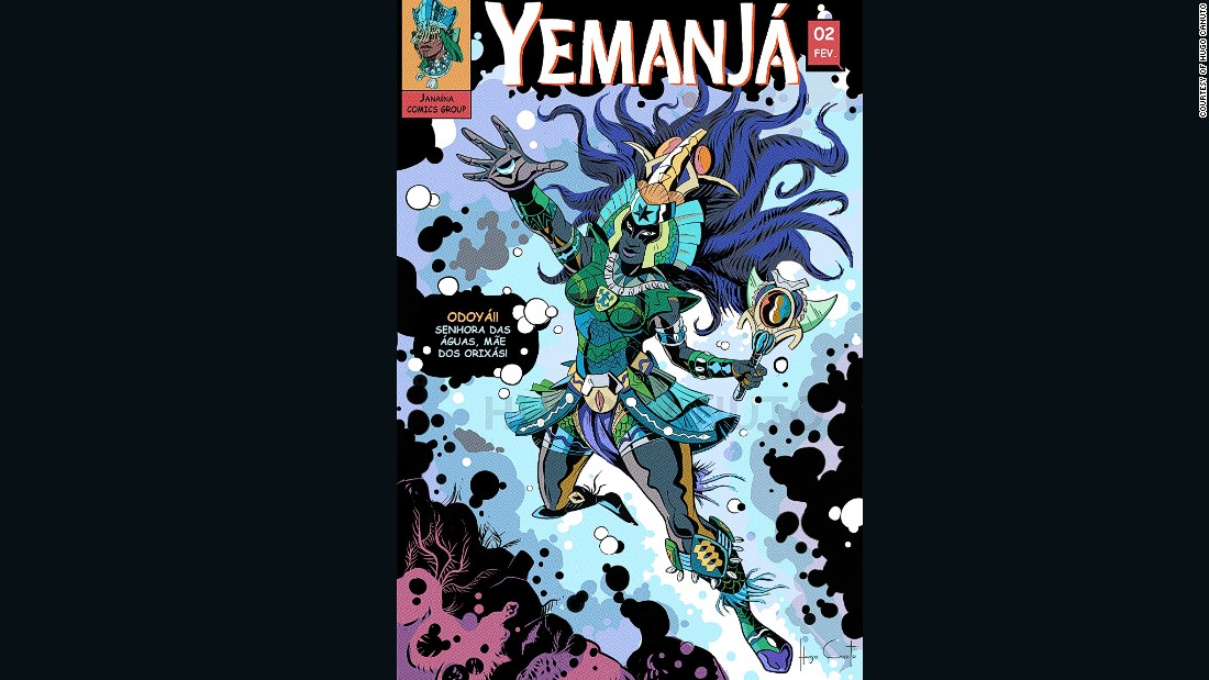 Yemanja, or Yemoja, is a water goddess and the mother of all orishas. Following Catholic influences in Brazil,Yemanja is often depicted as Virgin Mary.