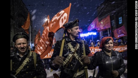 Russian Communist Party members marked the 99th anniversary of the October Revolution last year.