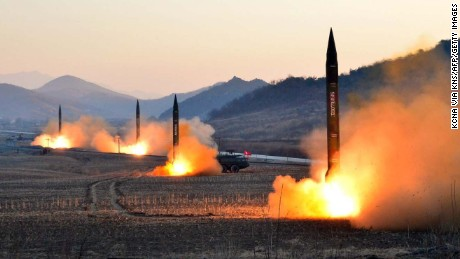 "TOPSHOT - This undated picture released by North Korea's Korean Central News Agency (KCNA) via KNS on March 7, 2017 shows the launch of four ballistic missiles by the Korean People's Army (KPA) during a military drill at an undisclosed location in North Korea.  Nuclear-armed North Korea launched four ballistic missiles on March 6 in another challenge to President Donald Trump, with three landing provocatively close to America's ally Japan. / AFP PHOTO / KCNA VIA KNS / STR / South Korea OUT / REPUBLIC OF KOREA OUT   ---EDITORS NOTE--- RESTRICTED TO EDITORIAL USE - MANDATORY CREDIT ""AFP PHOTO/KCNA VIA KNS"" - NO MARKETING NO ADVERTISING CAMPAIGNS - DISTRIBUTED AS A SERVICE TO CLIENTS THIS PICTURE WAS MADE AVAILABLE BY A THIRD PARTY. AFP CAN NOT INDEPENDENTLY VERIFY THE AUTHENTICITY, LOCATION, DATE AND CONTENT OF THIS IMAGE. THIS PHOTO IS DISTRIBUTED EXACTLY AS RECEIVED BY AFP.  / STR/AFP/Getty Images"