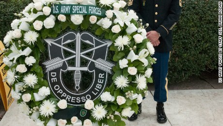 A wreath waits to be placed in front of President John F. Kennedy's gravesite to honor his legacy and dedication to Army Special Forces in Arlington, Virginia, on October 19, 2016. The wreath reads De Oppresso Libre in Latin, which translates to liberate the oppressed.