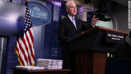 WASHINGTON, DC - MARCH 07:  U.S. Secretary of Health and Human Services Tom Price speaks during the White House daily press briefing March 7, 2017 at the White House in Washington, DC.