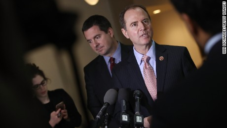 Rep. Adam Schiff (R) (D-CA), ranking member of the House Permanent Select Committee on Intelligence, and Devin Nunes (L) (R-CA), the chairman of the House Permanent Select Committee on Intelligence, answer questions at the U.S. Capitol during a press conference March 2, 2017 in Washington.