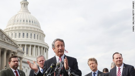 Rep. Mark Sanford (R-SC) (C) speaks about Obamacare repeal and replacement while members of the House Freedom Caucus during a news conference on Capitol Hill, on March 7, 2017 in Washington, DC.