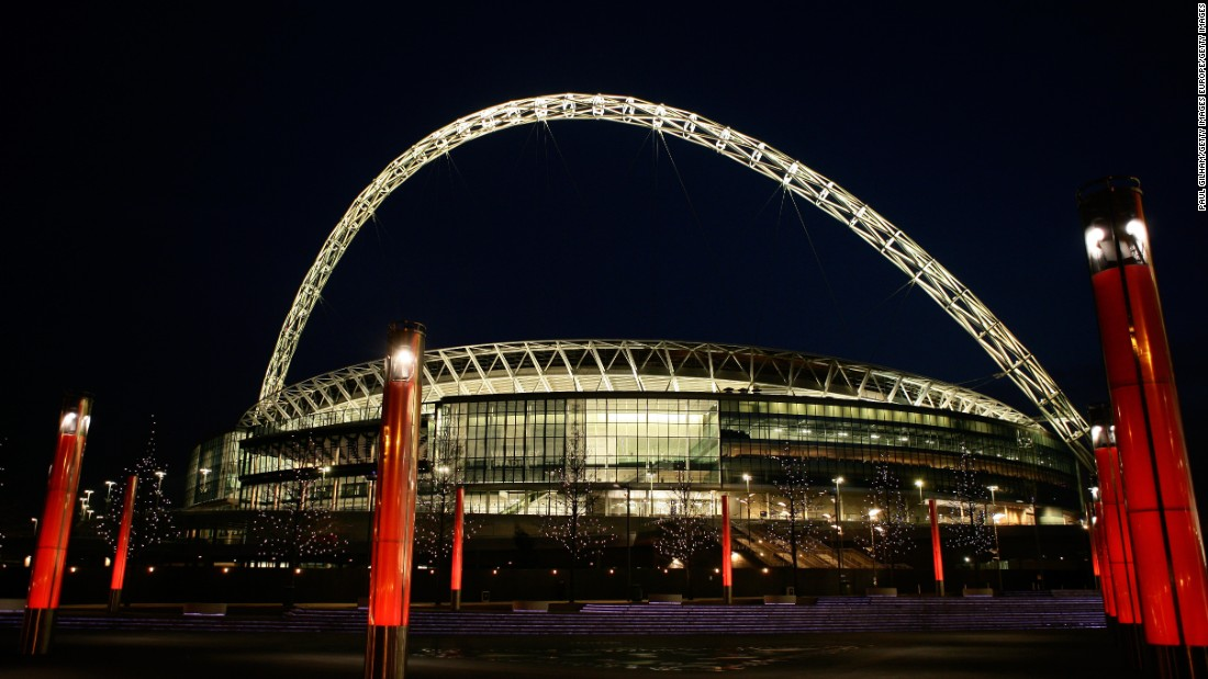 The original Wembley Stadium, with its distinctive Twin Towers, hosted the London 1948 Olympics and England's only football World Cup win, in 1966. Its replacement was designed by Foster and Partners, and features a distinctive 133-meter-high arch. It has a capacity of 90,000 and opened in West London in 2007.