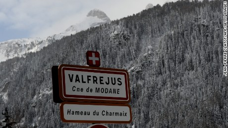 A file image from 2016 shows the entrance to the ski resort of Valfrejus, in the French Alps.