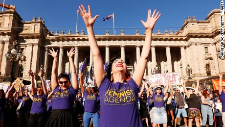 MELBOURNE, AUSTRALIA - MARCH 08:  Thousands of demonstrators attend a rally for International Women's Day on March 8, 2017 in Melbourne, Australia.  Marchers were calling for de-colonisation of Australia, an end to racism, economic justice for all women and reproductive justice, as well as supporting the struggle for the liberation of all women around the world, inclusive of trans women and sex workers.  (Photo by Daniel Pockett/Getty Images)