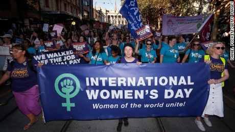 Thousands rally for International Women's Day in Melbourne.