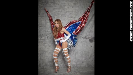 Miss International Queen contestants must also wear costumes representing their home countries. Anderson favors this winged patriotic number.