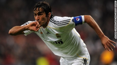 Real Madrid's captain Raul Gonzalez celebrates after scoring a goal against A.C. Milan during a Champions league group C football match at the Santiago Bernabeu stadium in Madrid on October 21, 2009. AFP PHOTO/JAVIER SORIANO. (Photo credit should read JAVIER SORIANO/AFP/Getty Images)