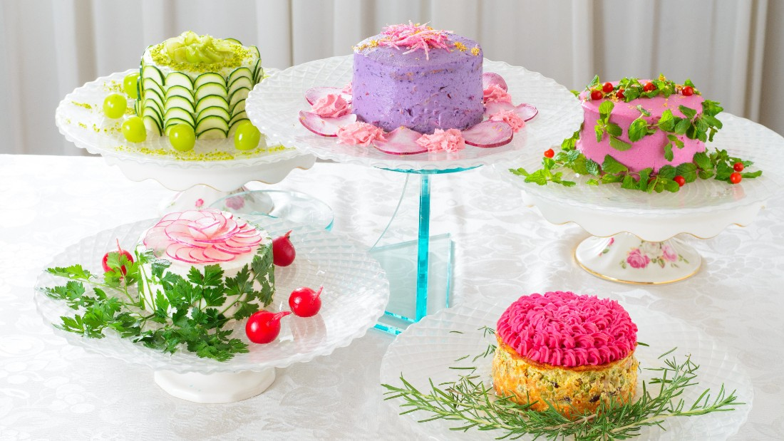 "Japan's Mitsuki Moriyasu invented  ""salad cakes"", made entirely of vegetables, in 2015."