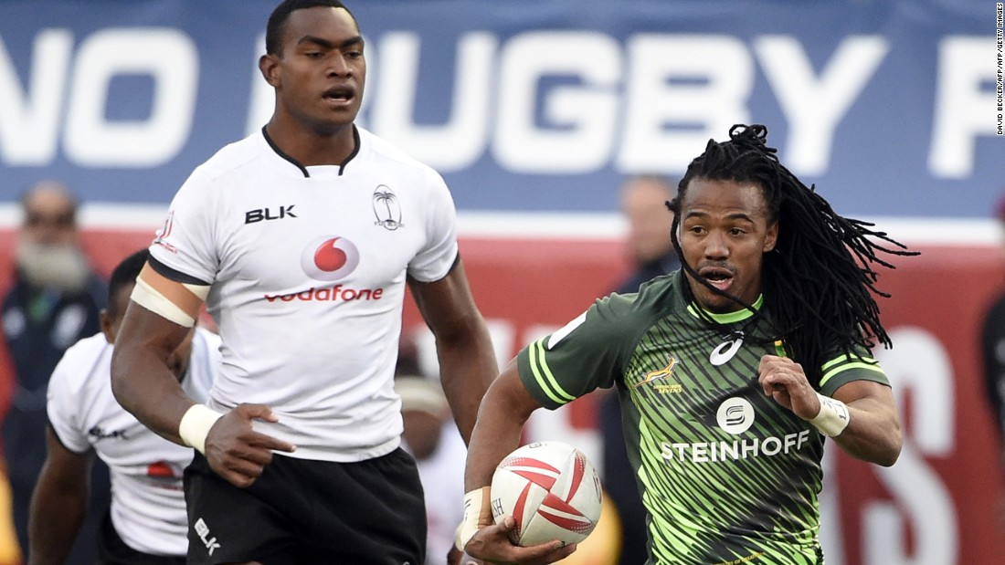 However, South Africa beat Fiji 19-12 in Sunday's final to extend its lead in the 2016-17 world series. Here Cecil Afrika bursts free to score for the Blitzboks.