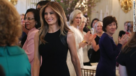 WASHINGTON, DC - MARCH 08:  First lady Melania Trump arrives at a luncheon she was hosting to mark International Women's Day in the State Dining Room at the White House March 8, 2017 in Washington, DC.
