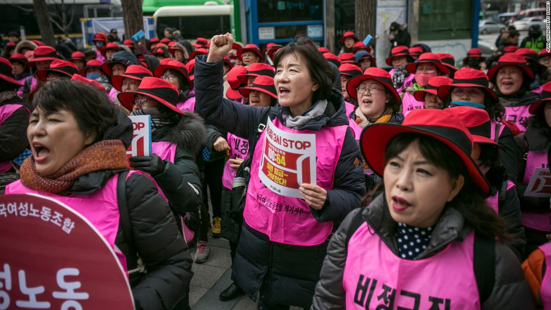 Women in Seoul, South Korea, protest gender inequality and sexual harassment in the workplace.