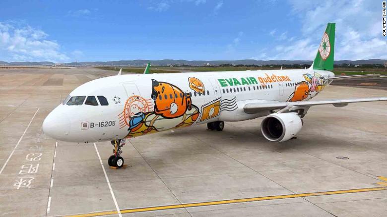 <strong>Eva Air -- Gudetama:</strong> The hugely popular Sanrio character Gudetama -- a morose and lazy egg yolk -- graces an Eva Air plane that flies the Taipei to Tokyo route.