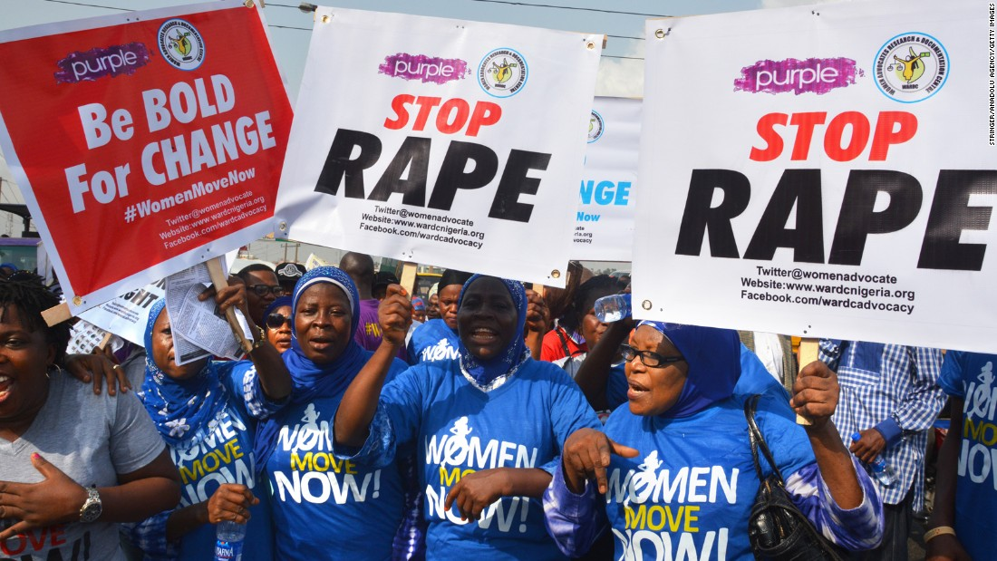 Women in Lagos, Nigeria, protest against sexual violence.
