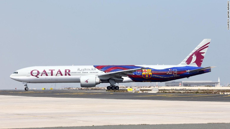 <strong>Qatar Airways -- Barcelona: </strong>As a sponsor of F.C. Barcelona, Qatar airline launched a Barca-themed plane featuring the club's flag. A natty shading element on the flag design appears to make it move during takeoff.
