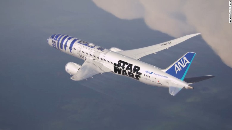<strong>ANA -- 'Star Wars': </strong>Arguably the world's most popular robot, in 2015 R2-D2 took to the skies in the form of All Nippon Airways's livery.  Japan's largest airline has subsequently added C-3PO and BB-8 planes to its fleet.