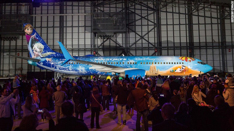 """<strong>Westjet -- 'Frozen': </strong>Canadian airline Westjet teamed up with Disney and brought in painters from Canada, the United States and Germany to bring this """"Frozen""""-themed livery to life."""