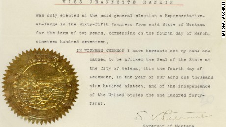 Credentials of Jeannette Rankin, December 4, 1916.